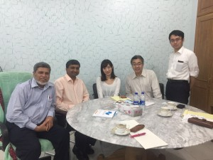 Dr  prasanna along with the Chairman of East West medical college at Dhaka and with a Japanese delegation who is associated with them