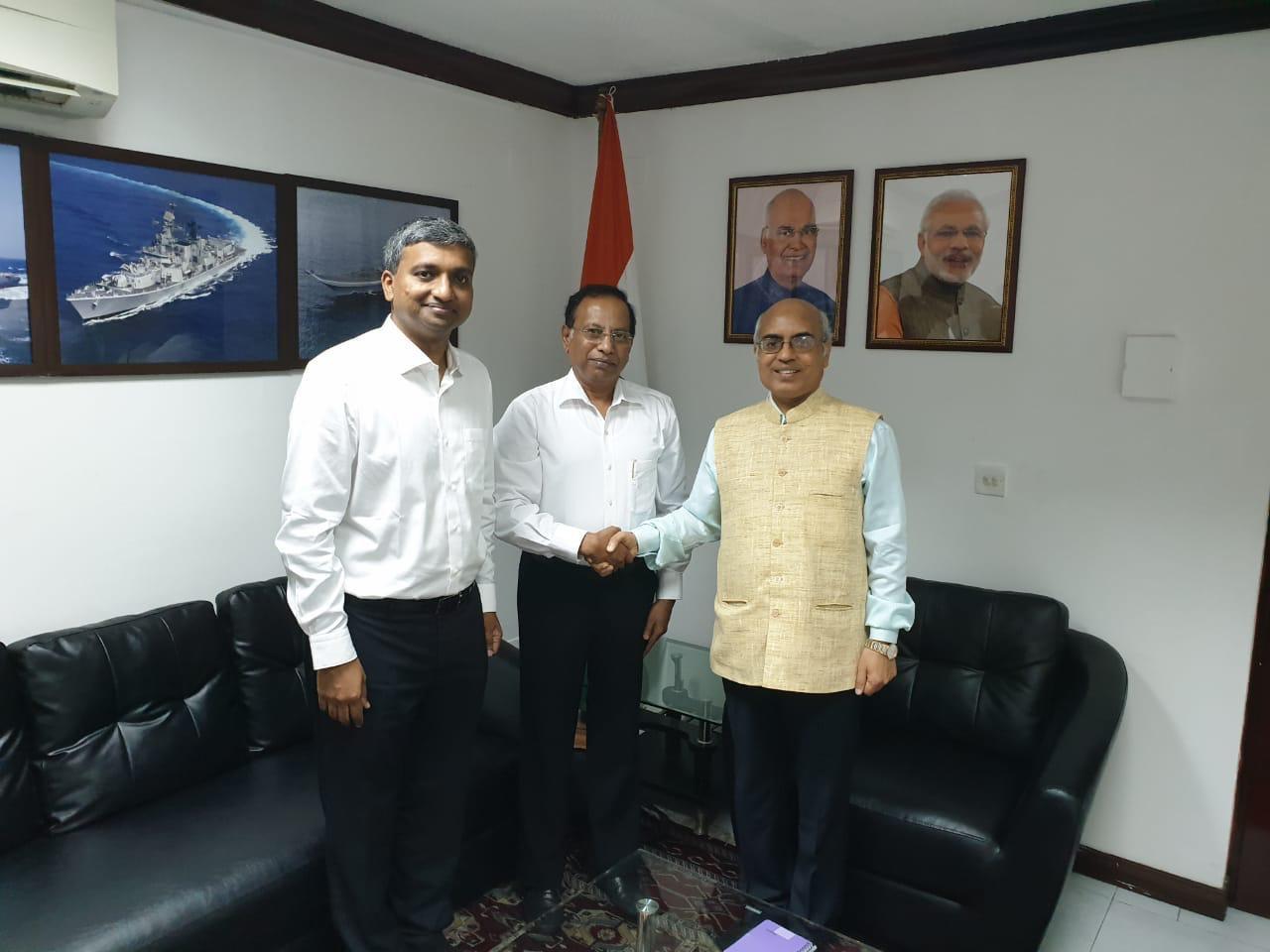 Mr Ramachandra and Dr Prasanna Venkatesh - NU Hospitals - Bengaluru - with His Excellency Mr Akhilesh Mishra, Ambassador to Maldives 🇲🇻 Embassy of India 🇮🇳 at Male , Maldives.